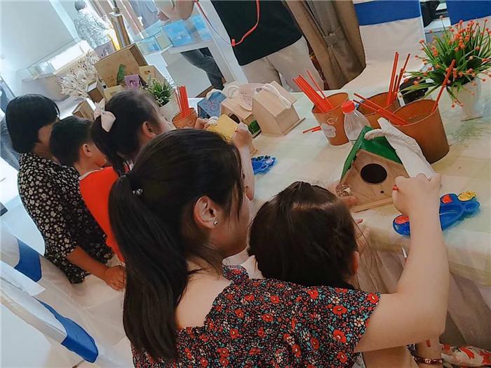 儿童创意diy手工坊彩绘鸟巢diy活动现场分享